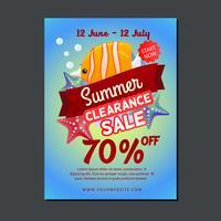 försäljning affisch mall med fisk vektor