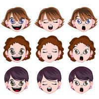 Vektor Manga Frau Avatar Gesicht