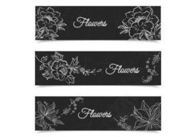 Kreide gezeichneter Blumenfahnen-Vektorsatz