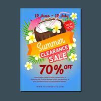 försäljning affisch mall sommar kokosnötdryck