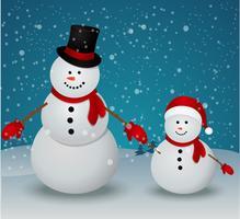 Julkort med snögubbefamilj vektor