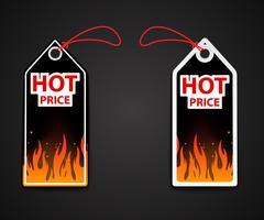 heiße Preisschilder mit Feuerflamme vektor