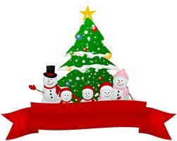 familj av snowman christmas bakgrund vektor