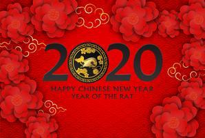 2020 Gott kinesiskt nyår. Design med blommor och råtta på röd bakgrund. papper konst stil. gott råttår. Vektor.