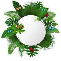 Rundes Zeichen mit Textraum von tropischen Blättern und von Schmetterlingen. Geeignet für Naturkonzept, Urlaub und Sommerurlaub. Vektor-Illustration