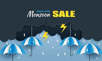 Monsoon, Rainy Season försäljning bakgrund. moln regn, åska och paraply hänger på blå himmel. papperskonst style.vector.