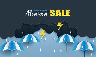 Monsun, Regenzeitverkaufshintergrund. Wolkenregen, Blitz und Regenschirm, die am blauen Himmel hängen. Papierkunst style.vector.