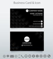 Modern kreativ visitkort mall och icon.Embossed geometrisk svart bakgrund. vektor