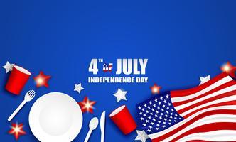 4 juli Glad Independence Day USA. Design med sked, fat, gaffel, Kniv, Pappersglas Porslin och amerikanska flaggstjärnan på blå bakgrund .Vector. vektor