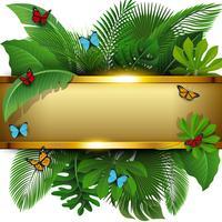 Gyllene banderoll med textutrymme av tropiska löv och fjärilar. Lämplig för naturkoncept, semester och sommarlov. Vektor illustration