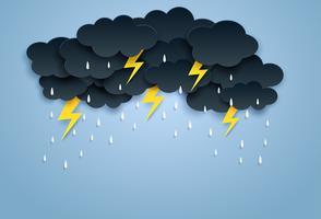 Monsun, Regenzeithintergrund. Wolkenregen und -blitz, die am blauen Himmel hängen. Papierkunst style.vector.