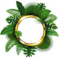 Runda gyllene banderoll med textutrymme av tropiska löv. Lämplig för naturkoncept, semester och sommarlov. Vektor illustration