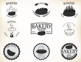 Bäckereiaufkleber und -ausweise mit Retro Vintagem Artdesign vektor