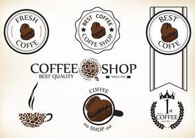 Satz Retro- Kaffeestubeausweise und -aufkleber der Weinlese vektor