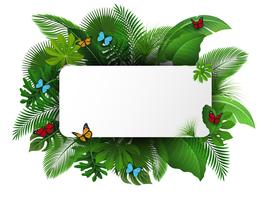 Skriv med textutrymme av tropiska löv och fjärilar. Lämplig för naturkoncept, semester och sommarlov. Vektor illustration