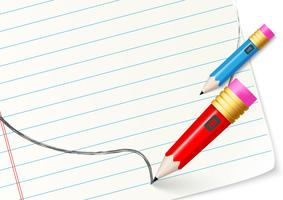 Satz Fahnen mit buntem Bleistift vektor
