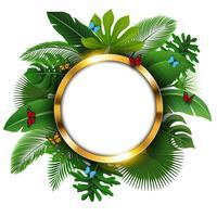 Runde goldene Fahne mit Textraum von tropischen Blättern und von Schmetterlingen. Geeignet für Naturkonzept, Urlaub und Sommerurlaub. Vektor-Illustration