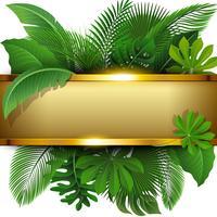 Gyllene banderoll med textutrymme av Tropical Leave. Lämplig för naturkoncept, semester och sommarlov. Vektor illustration