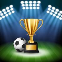 Fußball-Meisterschaft mit goldener Trophäe und Fußball mit belichtetem Scheinwerfer, Vektor-Illustration
