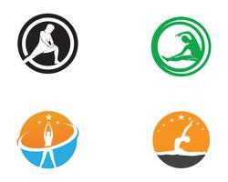 Atletisk yoga kroppslogosymboler vektorikoner