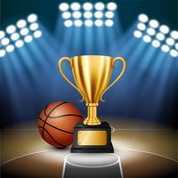 Basketball-Meisterschaft mit goldener Trophäe und Basketball mit belichtetem Scheinwerfer, Vektor-Illustration