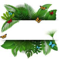 Unterzeichnen Sie mit Textraum von tropischen Blättern und von Schmetterlingen. Geeignet für Naturkonzept, Urlaub und Sommerurlaub. Vektor-Illustration