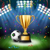 Fußball-Meisterschaft mit goldener Trophäe mit fallenden Konfettis und belichtetem Scheinwerfer, Vektor-Illustration