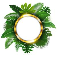 Runde goldene Fahne mit Textraum von tropischen Blättern. Geeignet für Naturkonzept, Urlaub und Sommerurlaub. Vektor-Illustration