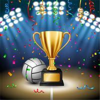 Volleyball-Meisterschaft mit goldener Trophäe mit fallenden Konfettis und belichtetem Scheinwerfer, Vektor-Illustration