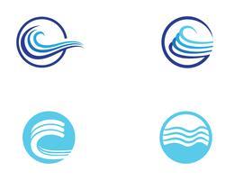 Wellenstrandlogo und Symbolvektorschablone