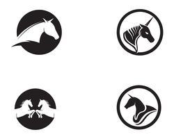 Hästhuvud svart Logo Mall Vector