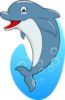 Niedliche stehende Delphinkarikatur