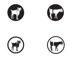 Vektorlogo der schwarzen Tiere der Ziege und Symbolschablone