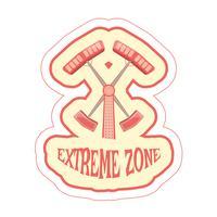 Aufkleber mit Karikaturfahrdoppelhammer und extremer Zone des Textes