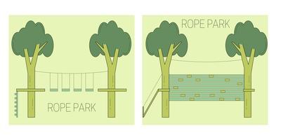 Seilparkbahn auf den Bäumen. vektor