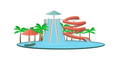 Tecknad aquapark med vattenrör och glidbanor.