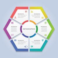 Färgrikt Hexagon Infographic Template med sex alternativ för arbetsflödeslayout, diagram, årsrapport, webbdesign