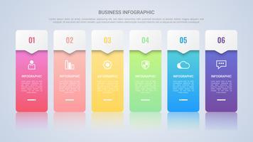 Einfache bunte Infographic-Schablone für Geschäft mit sechs Schritt-Mehrfarbenaufkleber