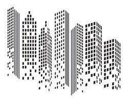 Moderne Skyline der Stadt. Stadtsilhouette. Vektor-Illustration in Wohnung vektor