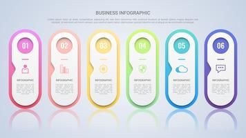 Säubern Sie bunte Infographic-Schablone für Geschäft mit sechs Schritt-Mehrfarbenaufkleber