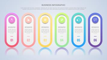 Minimalistisk infografisk mall för företag med sexstegs mångfärgad etikett