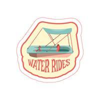 Klistermärke med cartoon pedal båt ikon