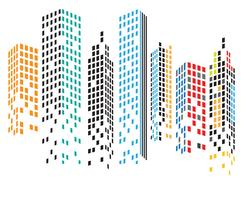 Modern City skyline. stads silhuett. vektor illustration i platt