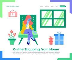 Onlineeinkaufen von der Hauptvektorhintergrundillustration.