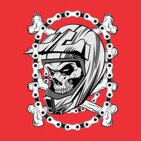 Schädel tragen Helm Motocross mit chain.vector Handzeichnung, Shirt Designs, Biker, Disk Jockey, Gentleman, Friseur und viele andere. Isoliert und leicht zu bearbeiten. Vektorabbildung - Vektor