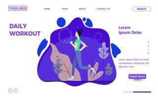 Löpande kvinnas målsida mall vektor