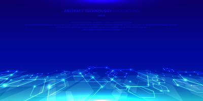 Sammanfattning teknik hexagons genetiska och sociala nätverk mönster perspektiv på blå bakgrund. Framtida geometriska mallelement hexagon med glödnoder. Företagspresentation för din design med plats för text.
