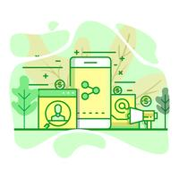 Rundfunk moderne flache grüne Farbe Illustration