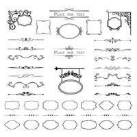 Kalligrafiska designelement. Delar, ramar av olika former. Vektor
