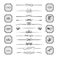 Kalligraphische Gestaltungselemente. Teiler, Rahmen in verschiedenen Formen. Vektor